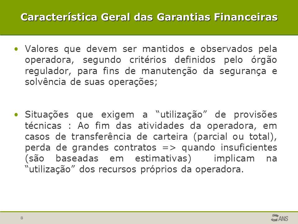 Característica Geral das Garantias Financeiras