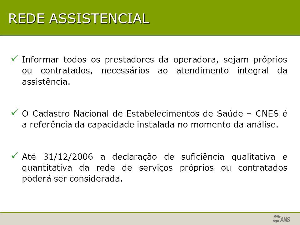 REDE ASSISTENCIAL Informar todos os prestadores da operadora, sejam próprios ou contratados, necessários ao atendimento integral da assistência.