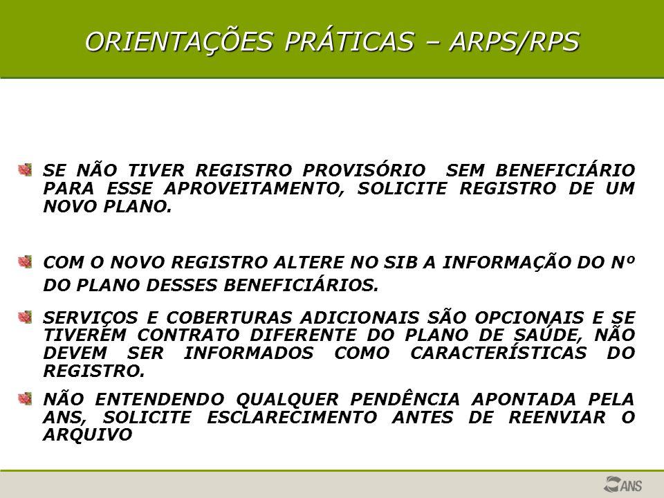 ORIENTAÇÕES PRÁTICAS – ARPS/RPS