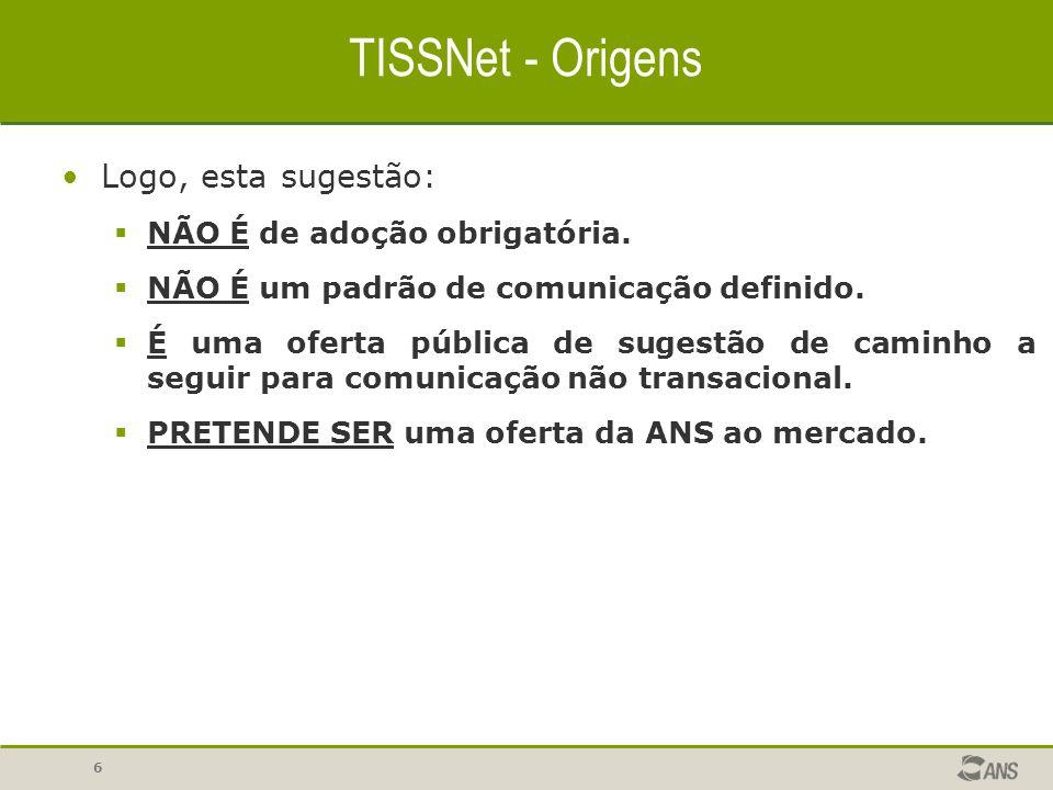 TISSNet - Origens Logo, esta sugestão: NÃO É de adoção obrigatória.