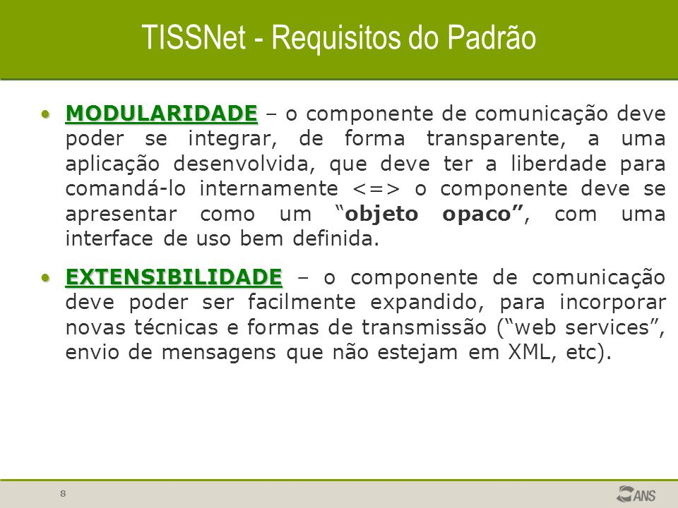 TISSNet - Requisitos do Padrão