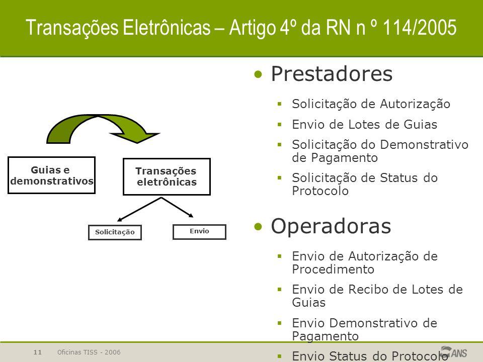 Transações Eletrônicas – Artigo 4º da RN n º 114/2005