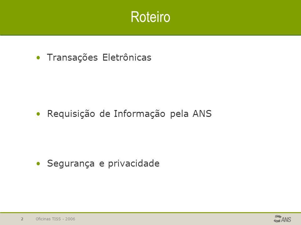Roteiro Transações Eletrônicas Requisição de Informação pela ANS