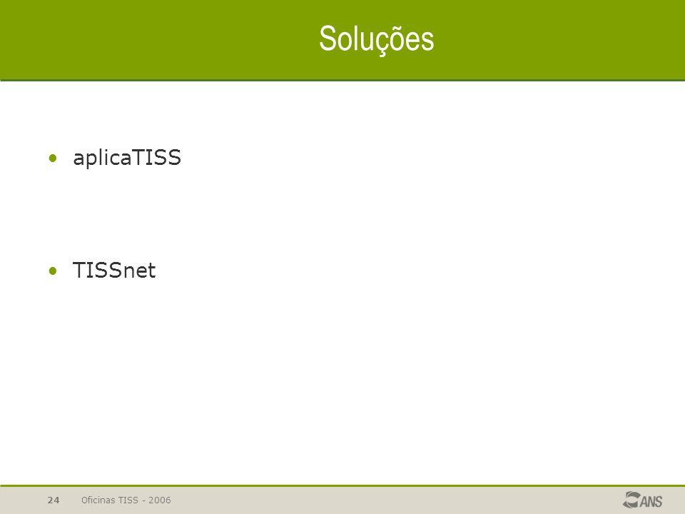 Soluções aplicaTISS TISSnet Oficinas TISS - 2006