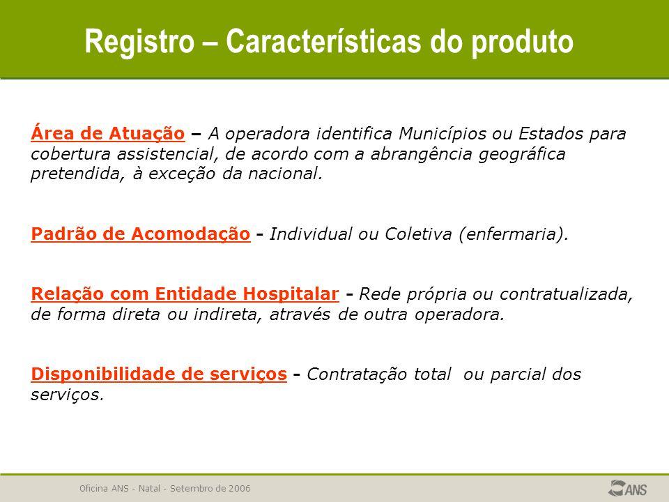 Registro – Características do produto