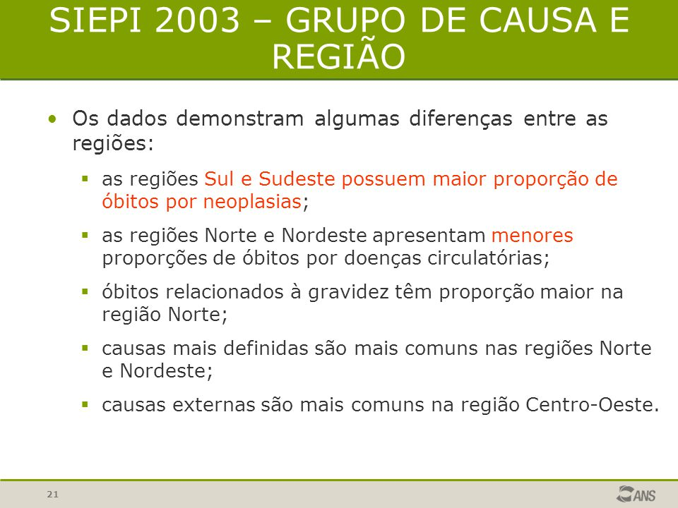 SIEPI 2003 – GRUPO DE CAUSA E REGIÃO