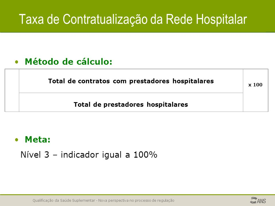 Taxa de Contratualização da Rede Hospitalar