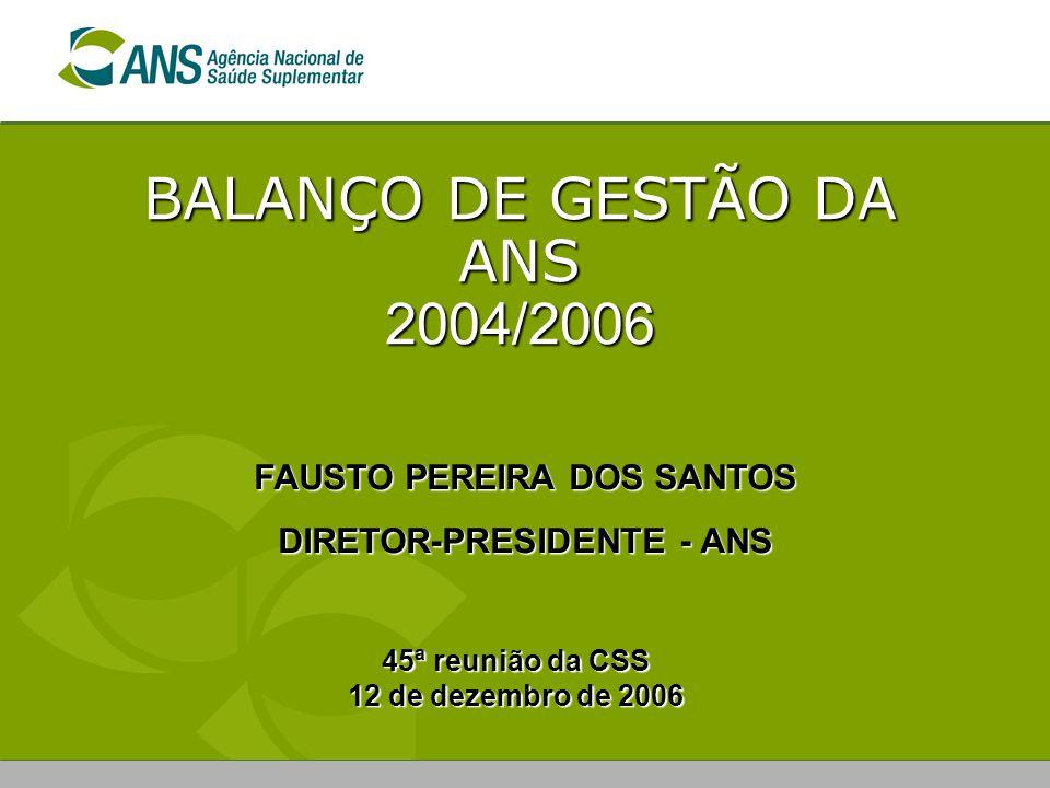 BALANÇO DE GESTÃO DA ANS 2004/2006