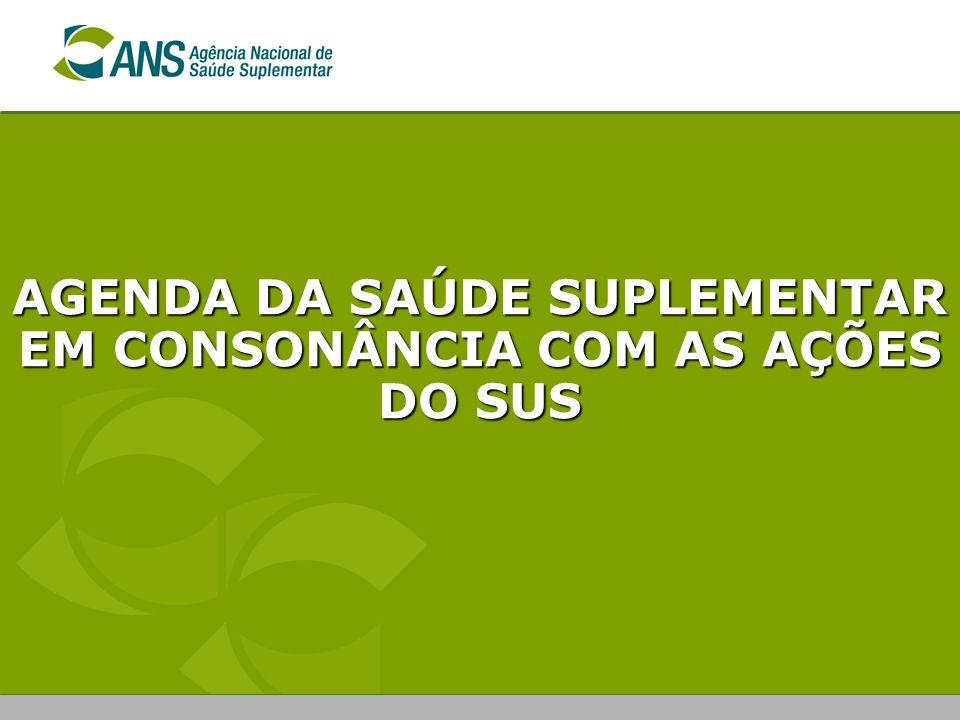 AGENDA DA SAÚDE SUPLEMENTAR EM CONSONÂNCIA COM AS AÇÕES DO SUS