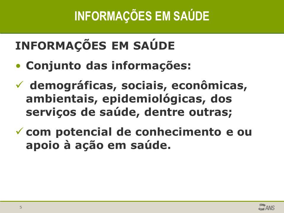 INFORMAÇÕES EM SAÚDE INFORMAÇÕES EM SAÚDE Conjunto das informações: