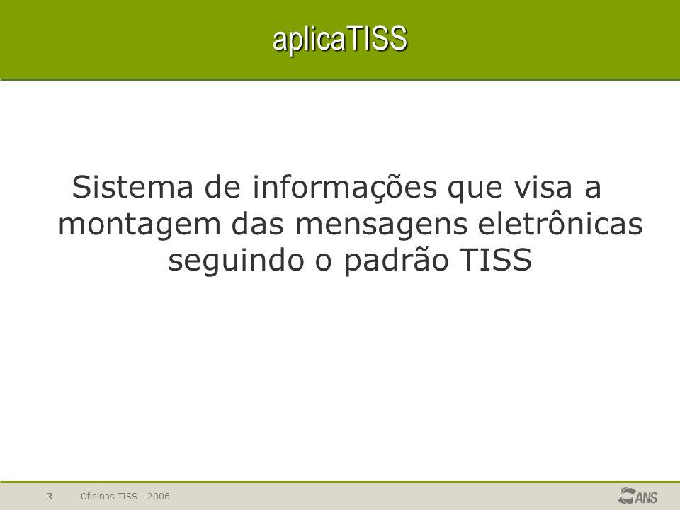 aplicaTISS Sistema de informações que visa a montagem das mensagens eletrônicas seguindo o padrão TISS.