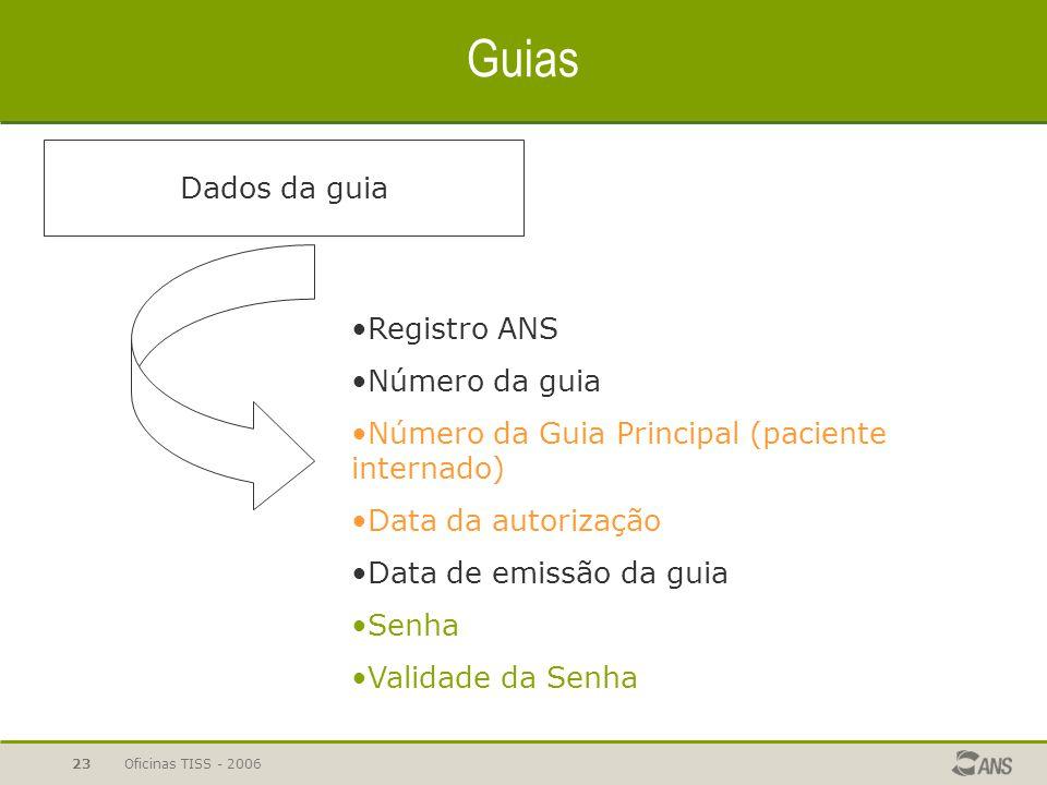 Guias Dados da guia Registro ANS Número da guia