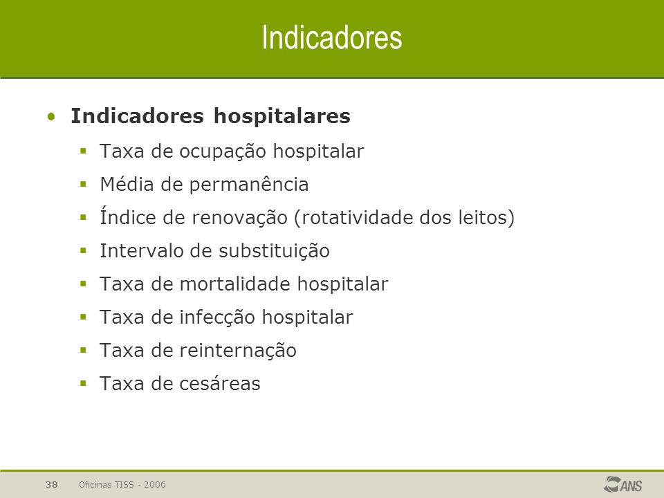 Indicadores Indicadores hospitalares Taxa de ocupação hospitalar