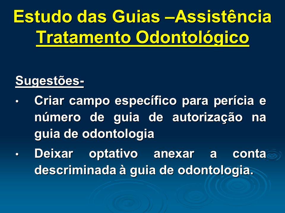 Estudo das Guias –Assistência Tratamento Odontológico