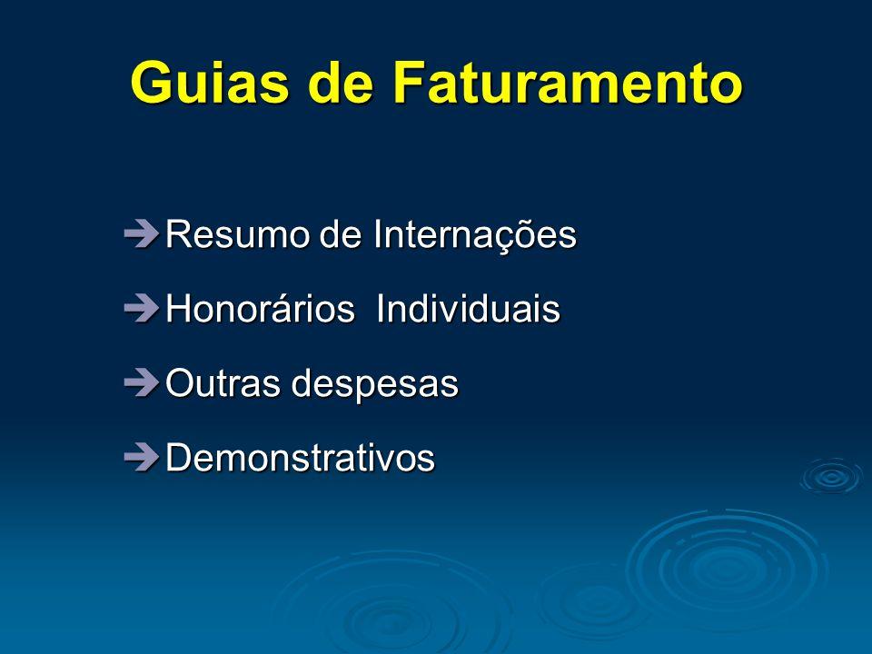 Guias de Faturamento Resumo de Internações Honorários Individuais