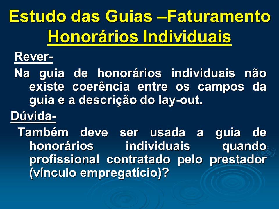 Estudo das Guias –Faturamento Honorários Individuais