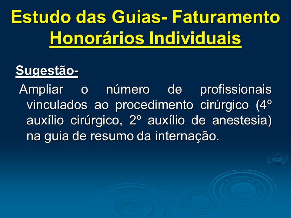 Estudo das Guias- Faturamento Honorários Individuais