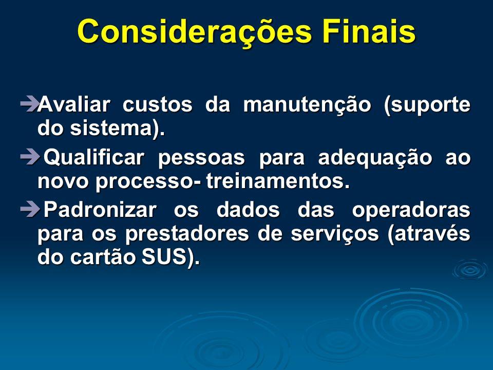 Considerações Finais Avaliar custos da manutenção (suporte do sistema). Qualificar pessoas para adequação ao novo processo- treinamentos.