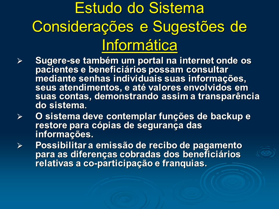 Estudo do Sistema Considerações e Sugestões de Informática