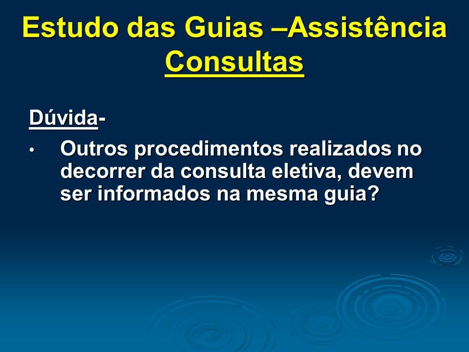 Estudo das Guias –Assistência Consultas