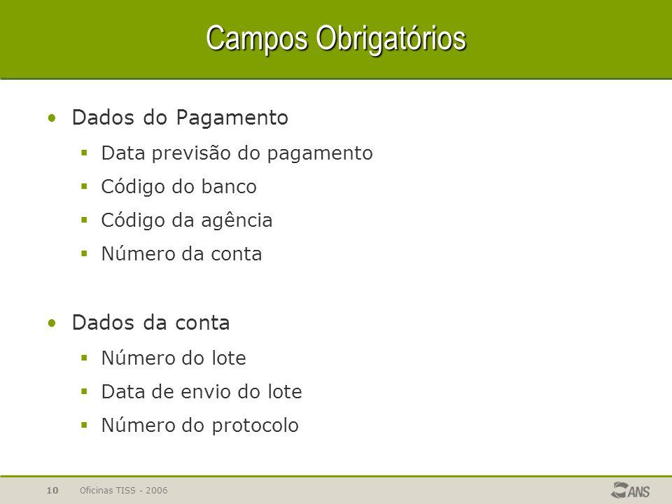 Campos Obrigatórios Dados do Pagamento Dados da conta