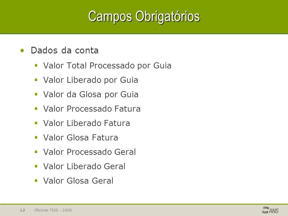 Campos Obrigatórios Dados da conta Valor Total Processado por Guia