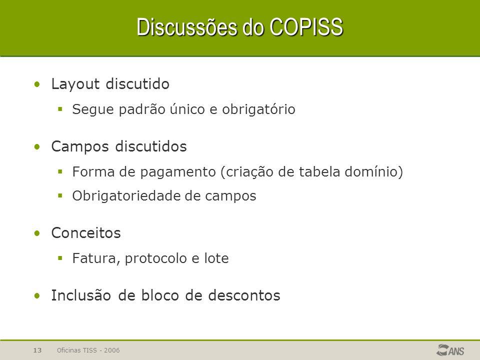 Discussões do COPISS Layout discutido Campos discutidos Conceitos