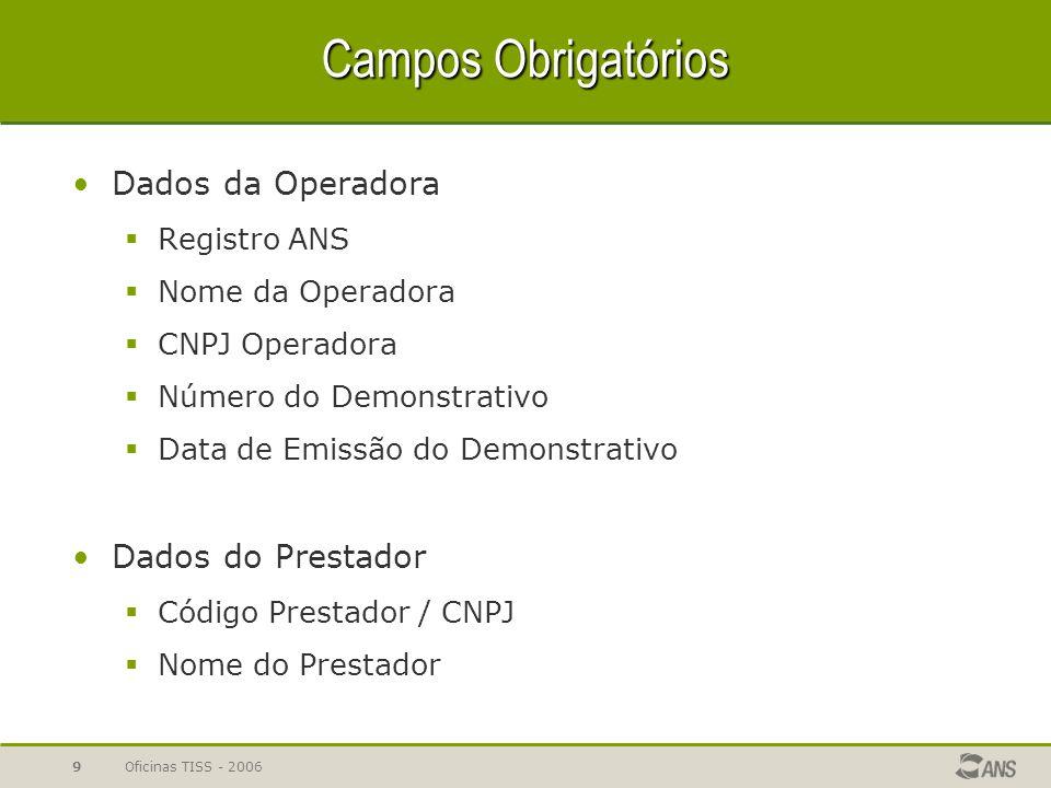 Campos Obrigatórios Dados da Operadora Dados do Prestador Registro ANS