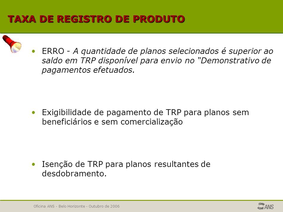 TAXA DE REGISTRO DE PRODUTO