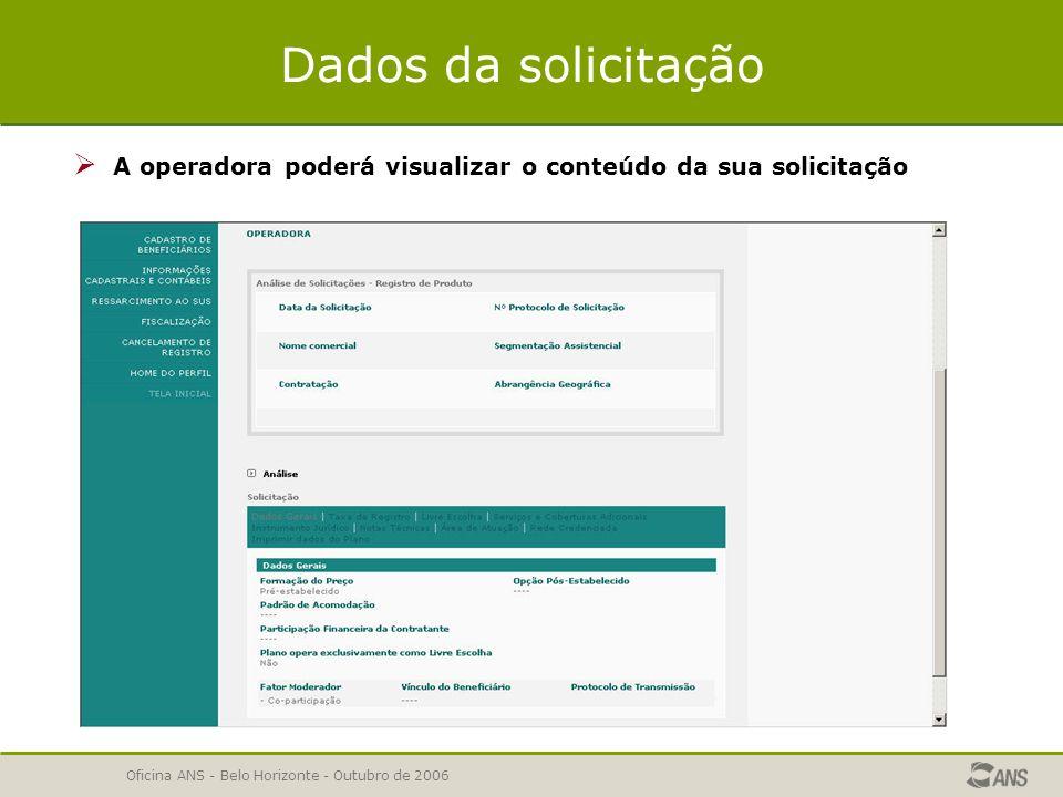 Dados da solicitação A operadora poderá visualizar o conteúdo da sua solicitação.