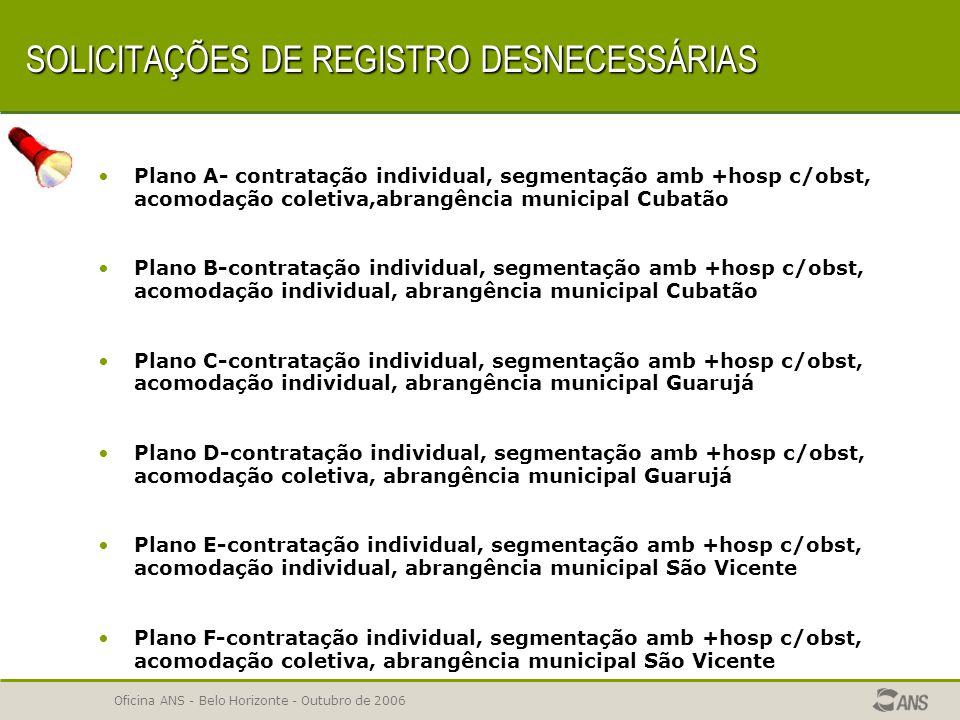 SOLICITAÇÕES DE REGISTRO DESNECESSÁRIAS