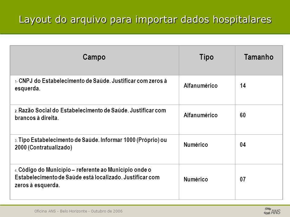 Layout do arquivo para importar dados hospitalares