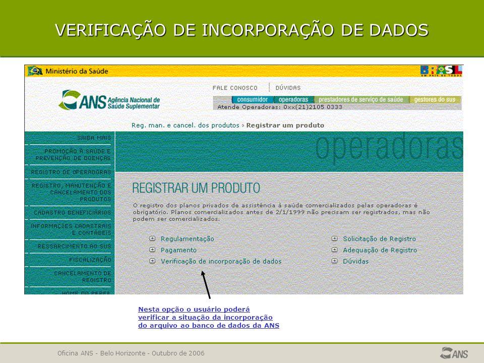 VERIFICAÇÃO DE INCORPORAÇÃO DE DADOS