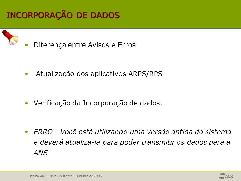 INCORPORAÇÃO DE DADOS Diferença entre Avisos e Erros