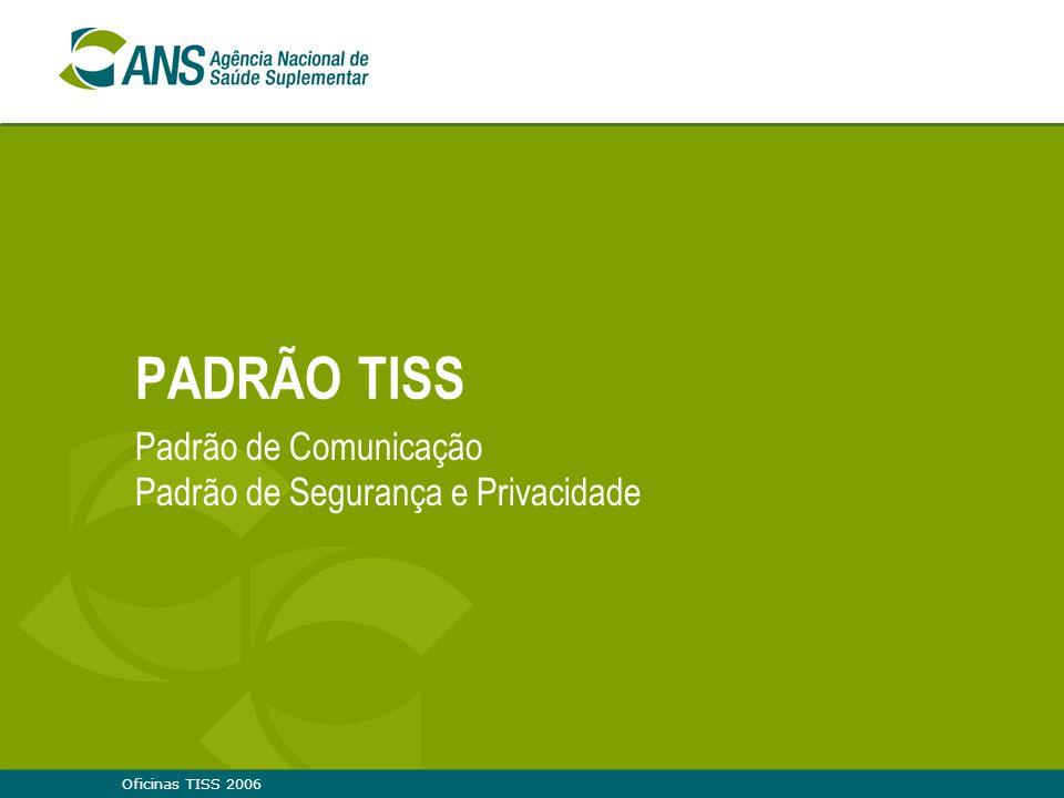 PADRÃO TISS Padrão de Comunicação Padrão de Segurança e Privacidade