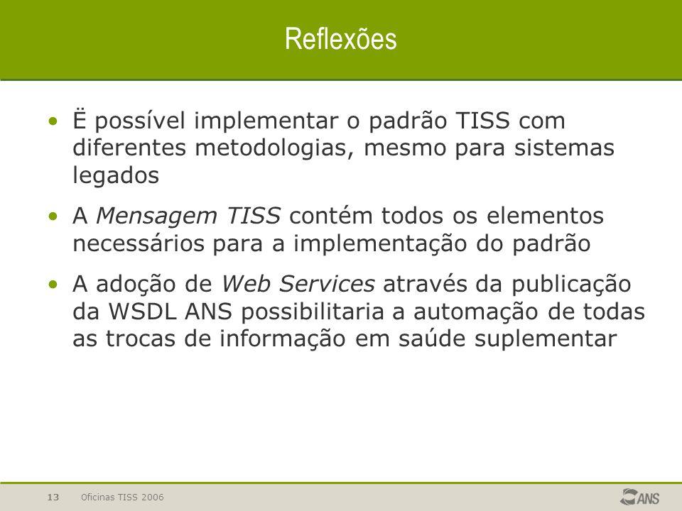 Reflexões Ë possível implementar o padrão TISS com diferentes metodologias, mesmo para sistemas legados.