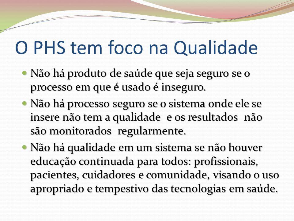 O PHS tem foco na Qualidade