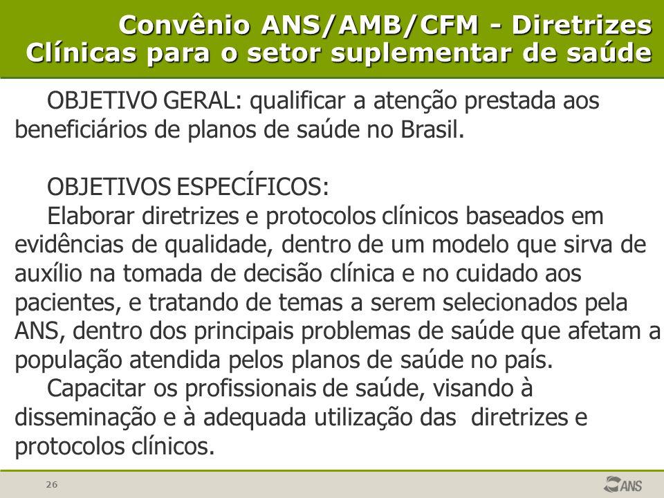 Convênio ANS/AMB/CFM - Diretrizes Clínicas para o setor suplementar de saúde