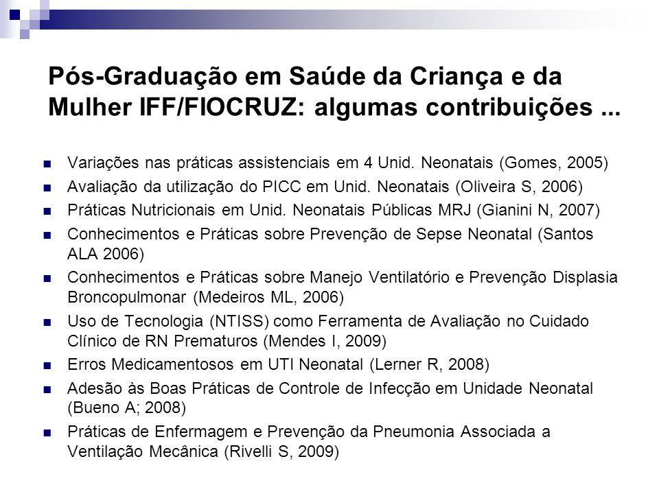 Pós-Graduação em Saúde da Criança e da Mulher IFF/FIOCRUZ: algumas contribuições ...