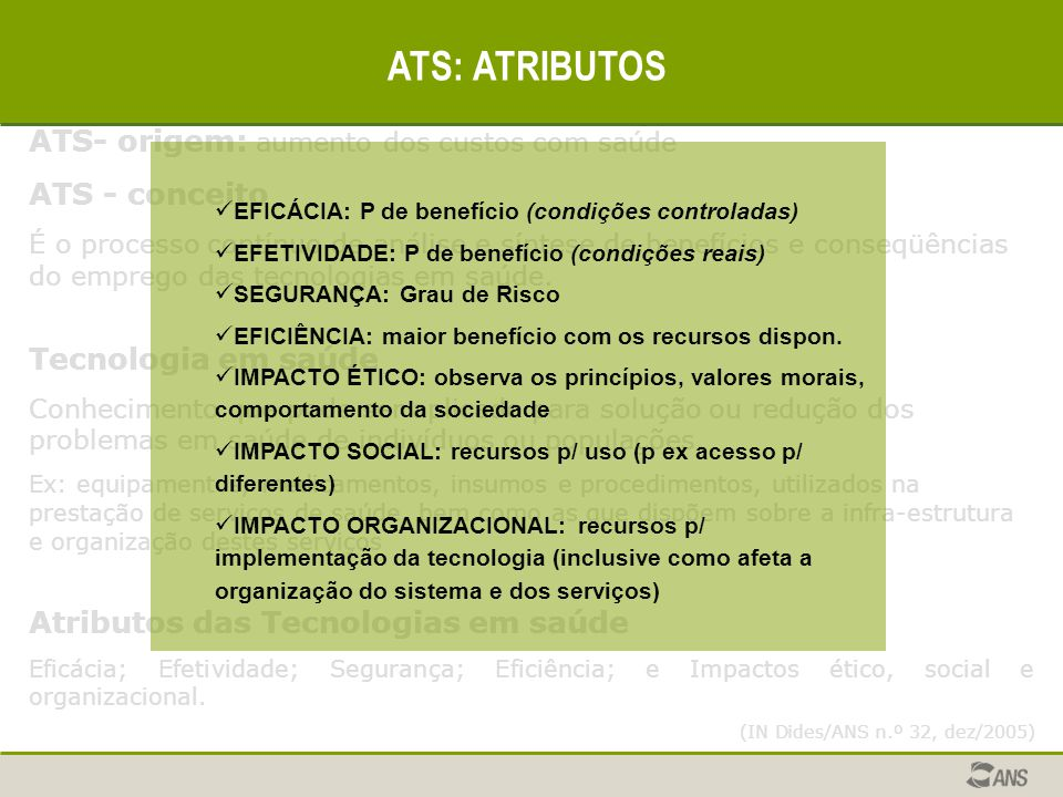 ATS: ATRIBUTOS ATS- origem: aumento dos custos com saúde
