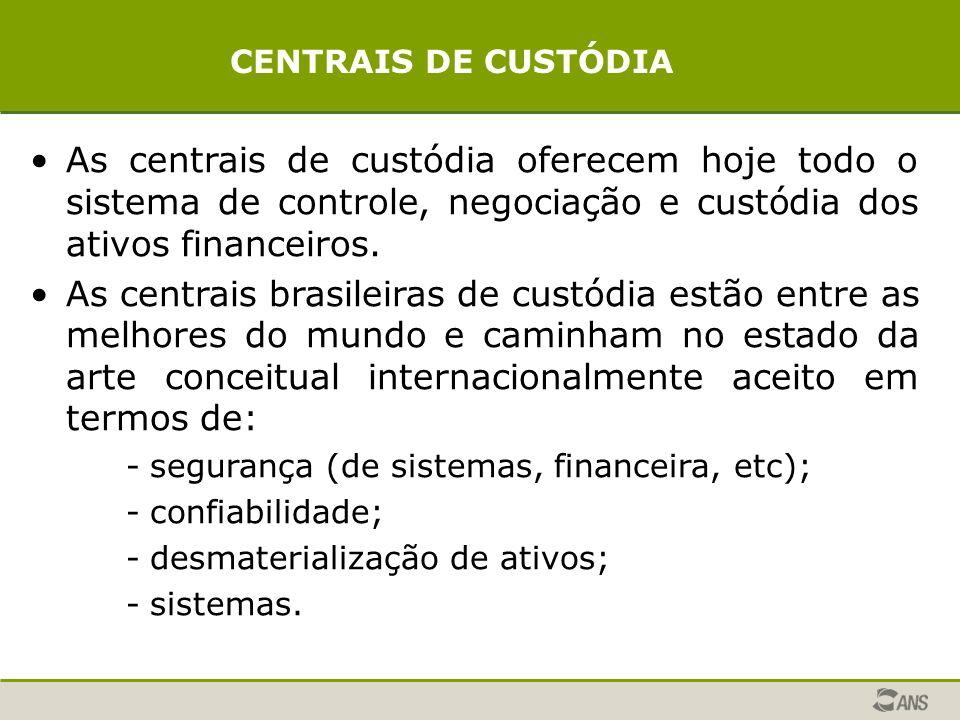 CENTRAIS DE CUSTÓDIA As centrais de custódia oferecem hoje todo o sistema de controle, negociação e custódia dos ativos financeiros.