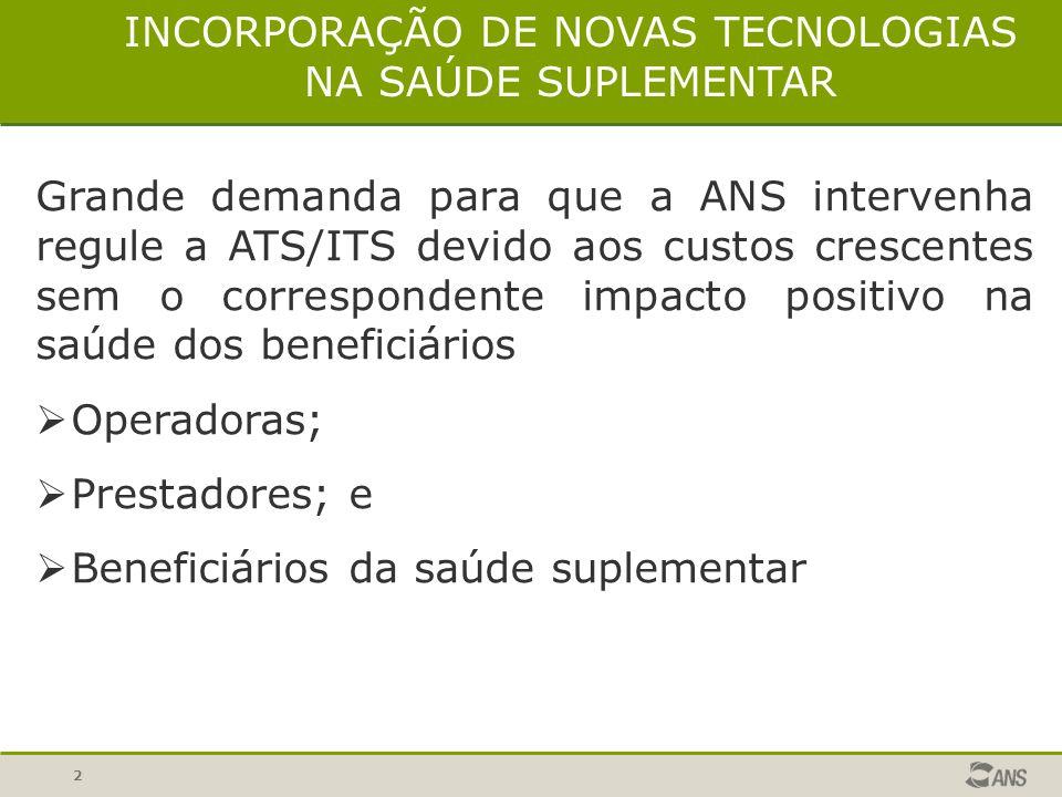 INCORPORAÇÃO DE NOVAS TECNOLOGIAS NA SAÚDE SUPLEMENTAR