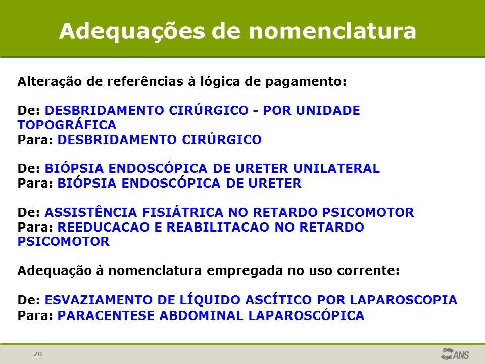 Adequações de nomenclatura