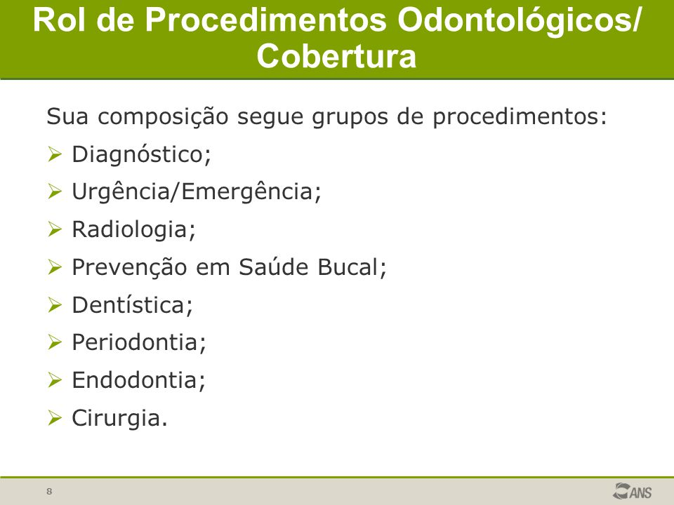 Rol de Procedimentos Odontológicos/ Cobertura