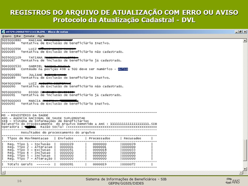 REGISTROS DO ARQUIVO DE ATUALIZAÇÃO COM ERRO OU AVISO Protocolo da Atualização Cadastral - DVL