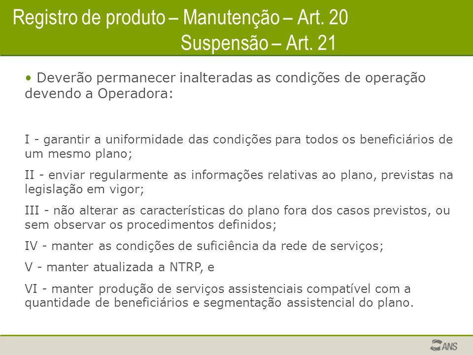 Registro de produto – Manutenção – Art. 20 Suspensão – Art. 21