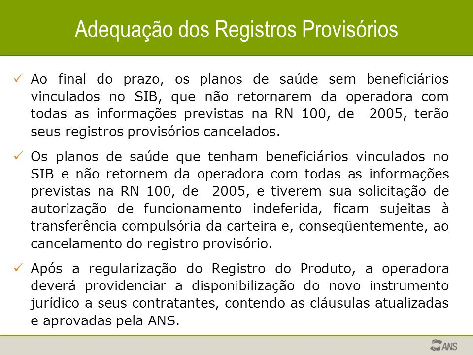Adequação dos Registros Provisórios