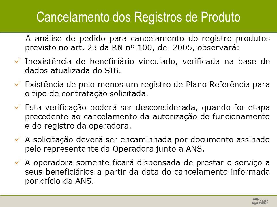 Cancelamento dos Registros de Produto
