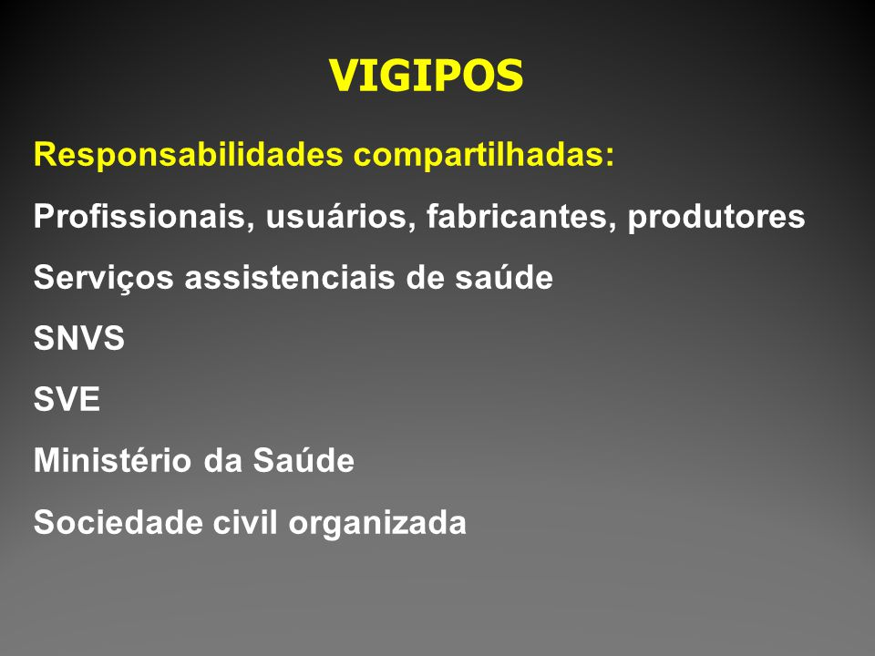 VIGIPOS Responsabilidades compartilhadas: