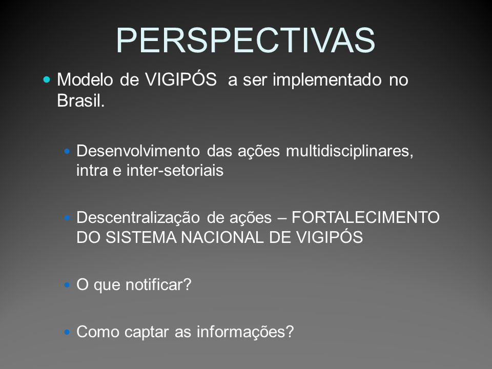 PERSPECTIVAS Modelo de VIGIPÓS a ser implementado no Brasil.